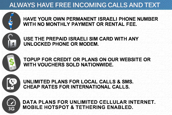 Israel sim card, israel phone, Prepaid sim card for israel, Iphone or android Micro nano Israel prepaid sim card, Israel prepaid topup service buy credit for any prepaid Israeli SIM card online