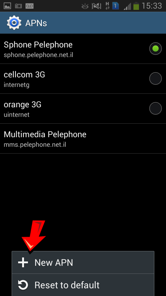 Orange Israel Android APN settings