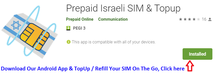 Recharge Israel Prepaid sim card, reload plan for Israel prepaid sim card refill